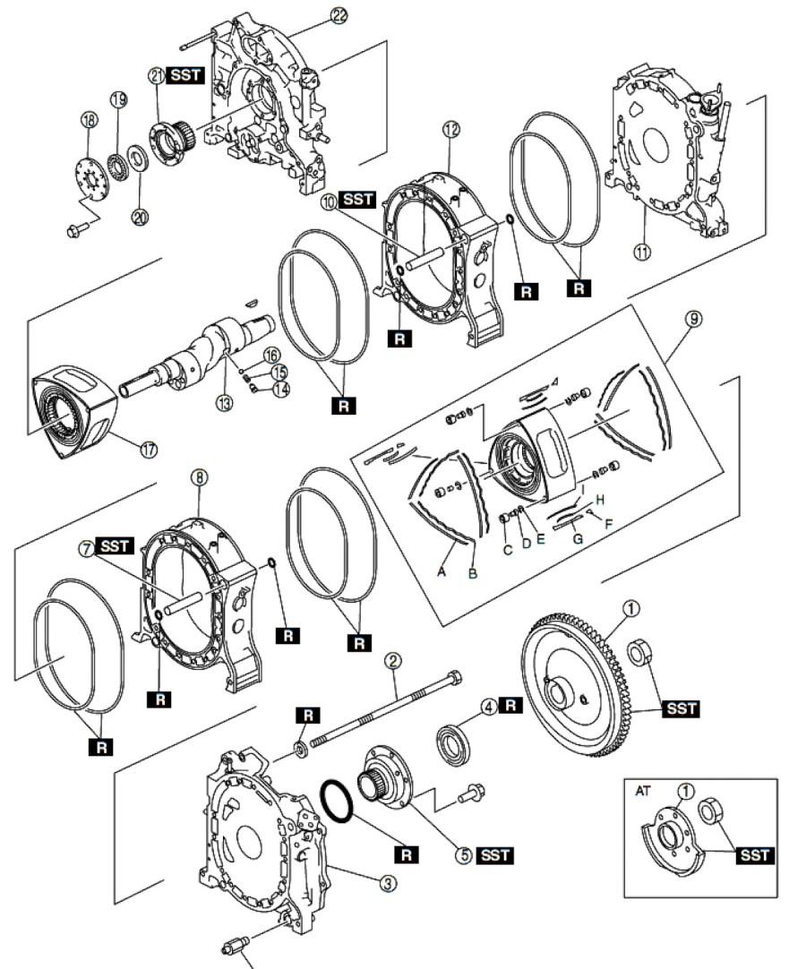 Reconstrucción Rebuild Renesis piezas 1 bloque motor RX8 RX7 jird20 RotaryPit