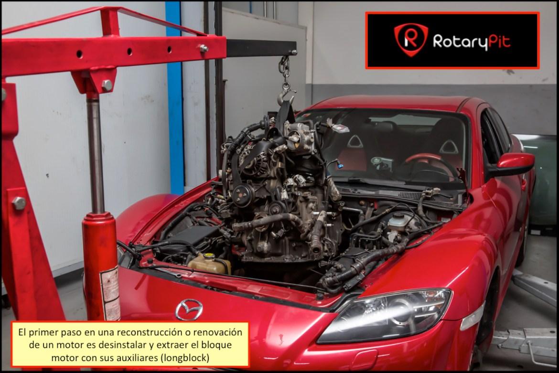 Reconstrucción rebuild motor Renesis desinstalación extracción del vano RX8 RX7 jird20 RotaryPit