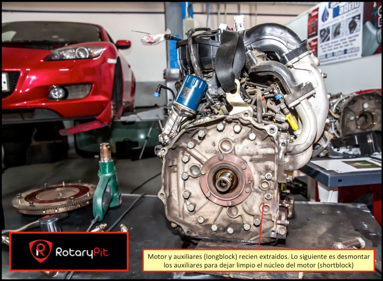 Reconstrucción rebuild motor Renesis motor longblock desinstalado RX8 RX7 jird20 RotaryPit