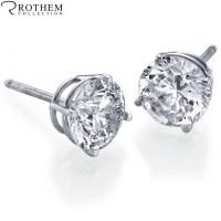 REAL 1.10 carat White Gold Diamond Stud Earrings Round ...