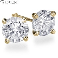 0.62 carat M VVS2 Yellow Gold Martini Setting Diamond Stud