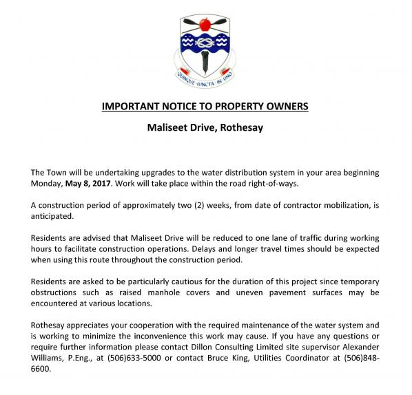 Notice to Residents - Maliseet Drive Rothesay - why notice period is important