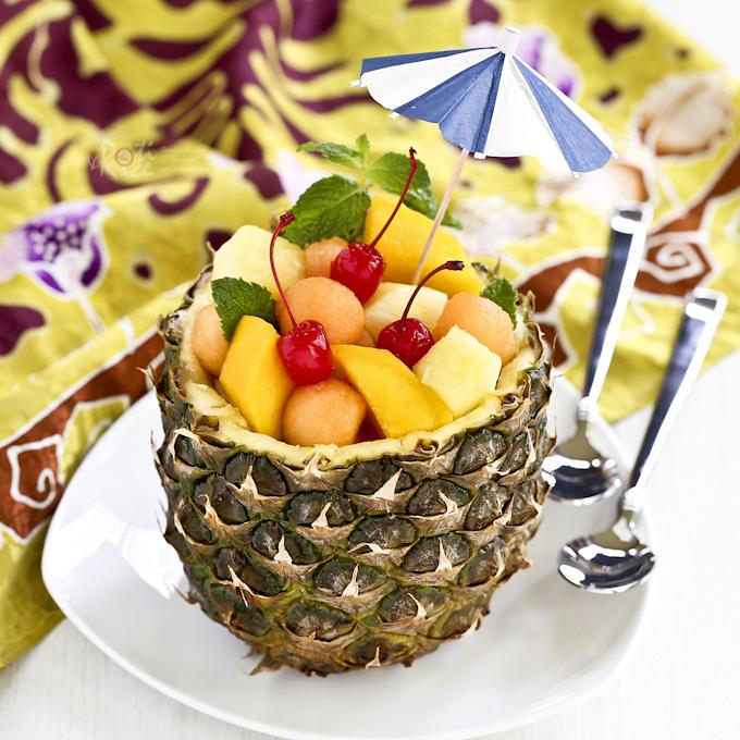 Pineapple Fruit Bowl Roti n Rice
