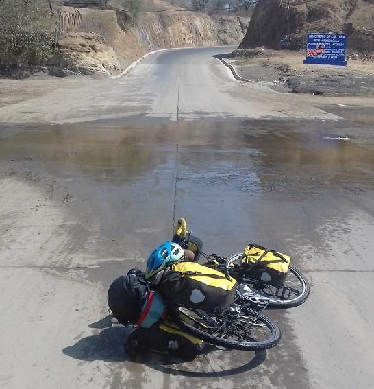 Bike spun around after crash