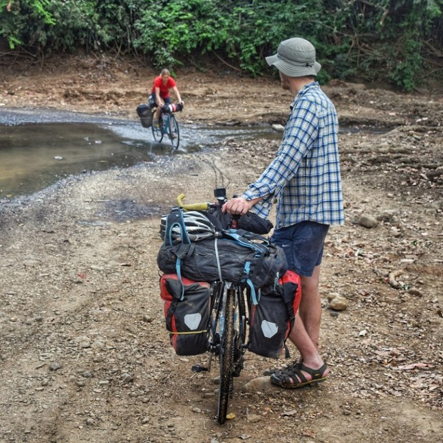 Marta navigates a creek