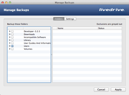 The Existing Backup Management screen