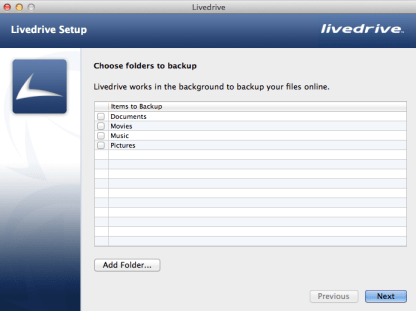 The existing Livedrive Wizard