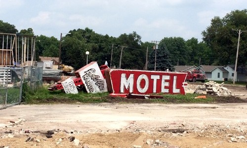 Signs saved from the demolished Bel-Aire Motel
