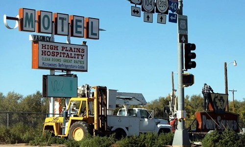 Pony Soldier Motel sign in Tucumcari removed