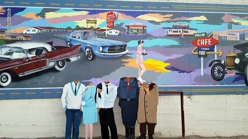 Figures at Barstow mural vandalized