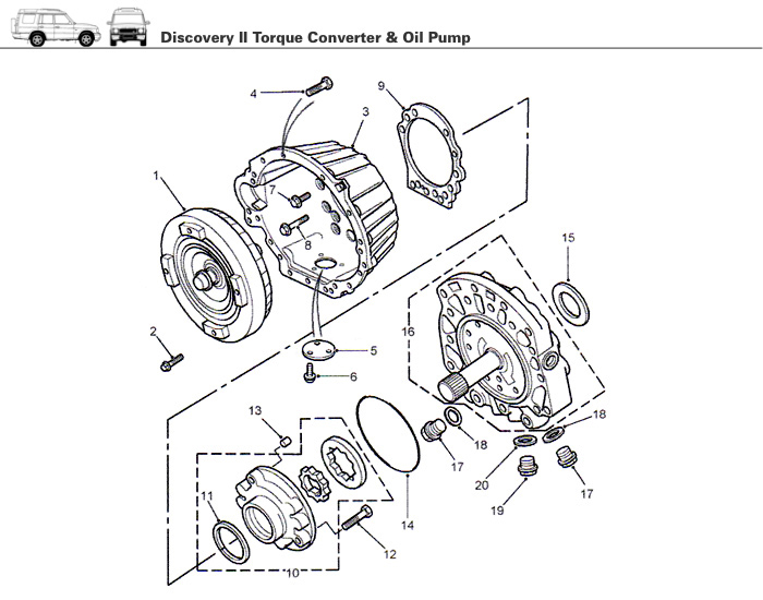 transmission torque converter oil pump discovery ii rovers north
