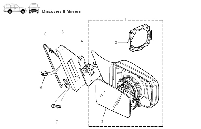 Sideview Mirror Assembly for Discovery II Rovers North - Land