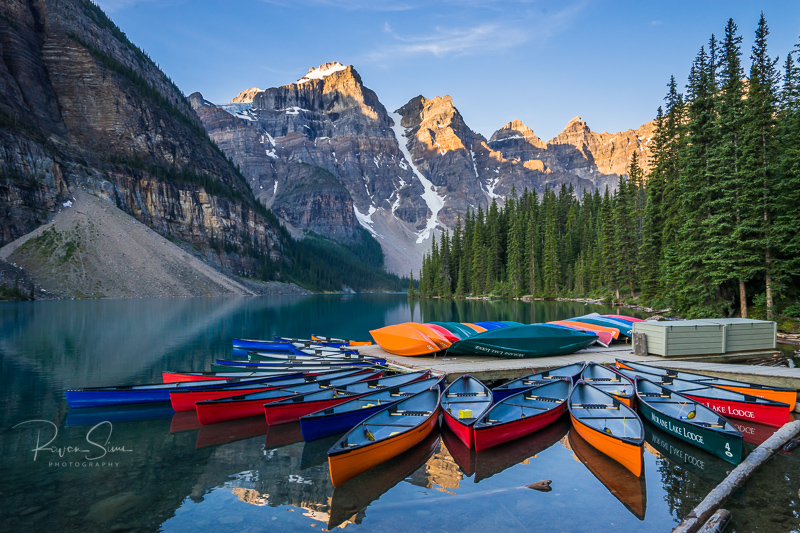 Dual Screen Wallpaper Fall Moraine Lake Sunrise Print