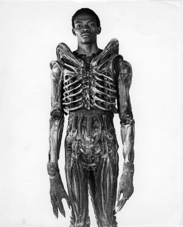 Bolaji Badejo in the Alien suit