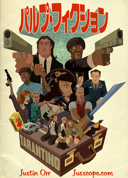 Pulp Fiction Japanese Poster Print by Justin Orr