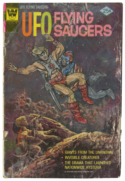 He-Man and Stratos insterted into the cover of Dell/ Whitman's UFO Flying Saucers #5 (originally published in 1975).