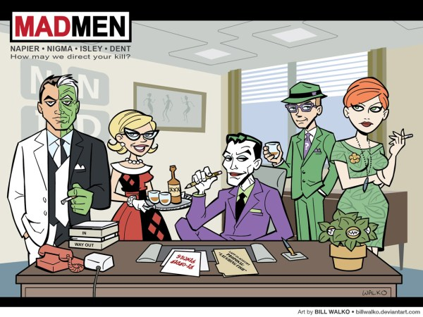 Batman Villains as Mad Men Characters - Joker, Harley Quinn, Riddler, Poison Ivy, Two-Face