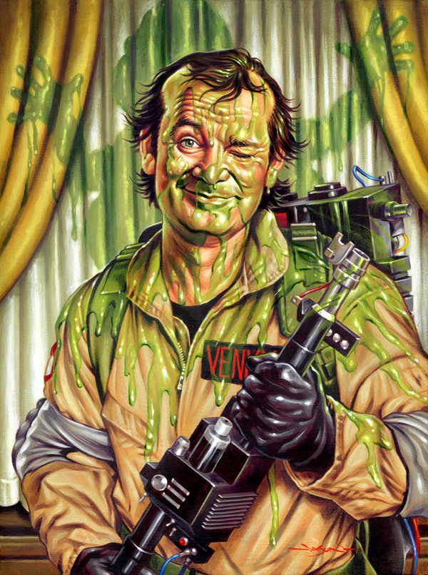Slimed: Ghostbusters Art by Jason Edmiston - Peter Venkman, Bill Murray, Slimer