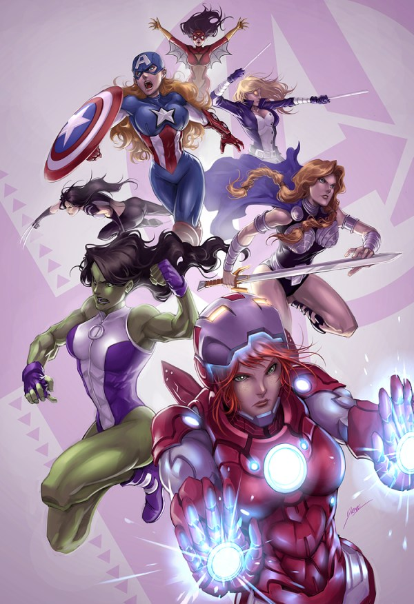Female Avengers Team by Drake Tsui - Spider-Woman, American Dream, Mockingbird, X-23, Valkyrie, She-Hulk, Rescue