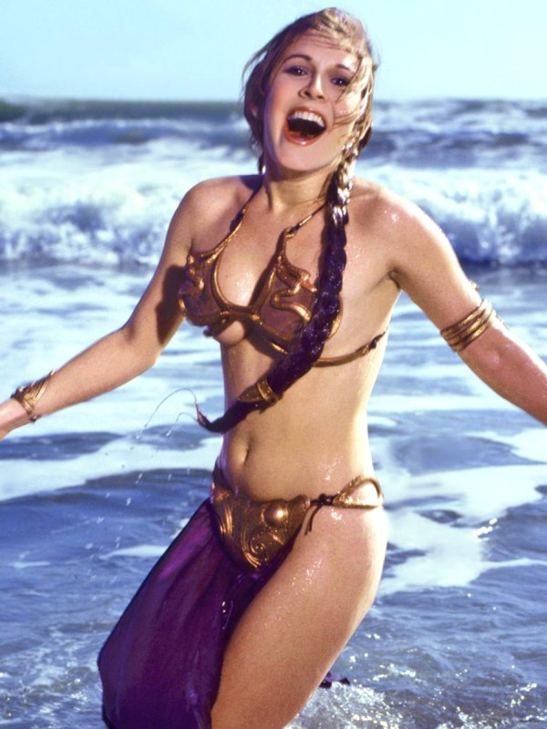 Carrie Fisher in Slave Leia Gold Bikini from Rolling Stone Magazine 1983