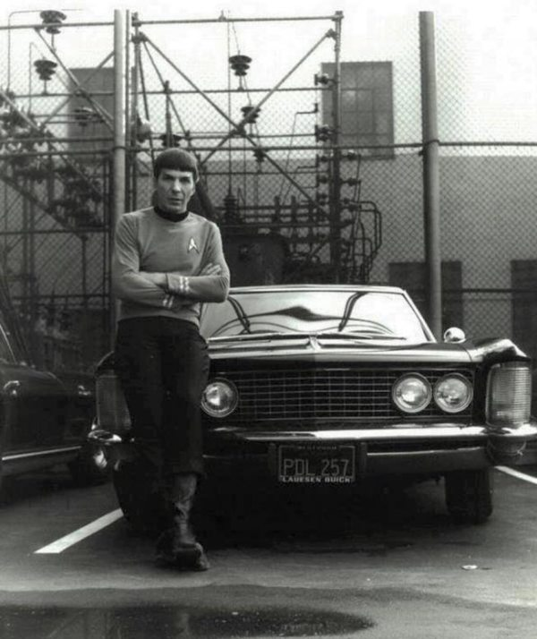 Leonard Nimoy as Spock Posing with &#039;64 Buick Riviera - Star Trek