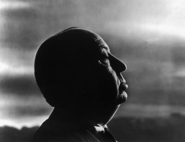 Alfred Hitchcock photo while filming The Birds by Philippe Halsman (1962)