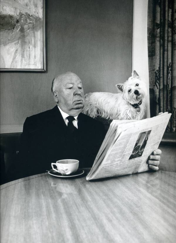 Photo of Alfred Hitchcock and his Sealyham Terrier by Philippe Halsman (1974)