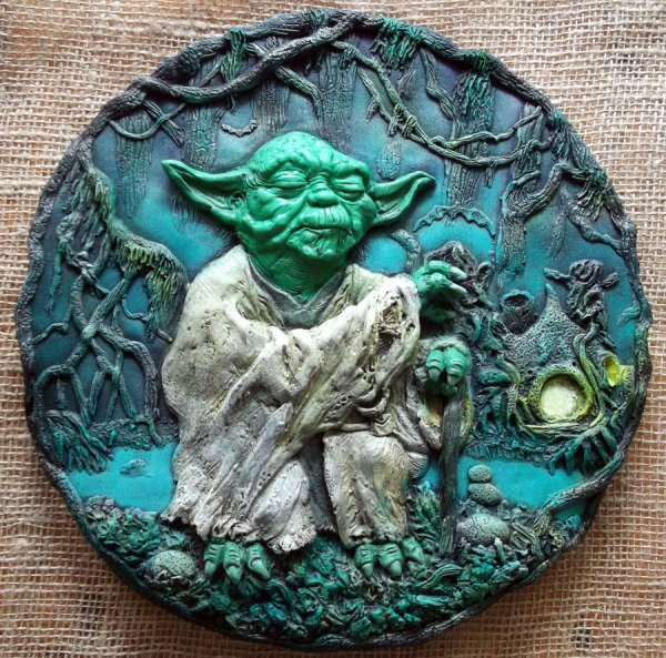 Jedi Master Yoda 3d relief sculpture by Micky Betts - Star Wars