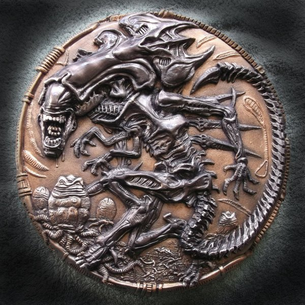 Alien Queen xenomorph wall plaque sculpture by Micky Betts