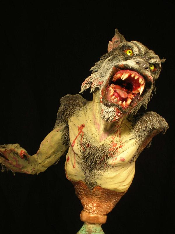 werewolf sculpture by Micky Betts