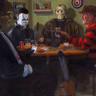 Leatherface, Michael Myers, Jason Voorhees and Freddy Krueger playing poker by Colin Mayne