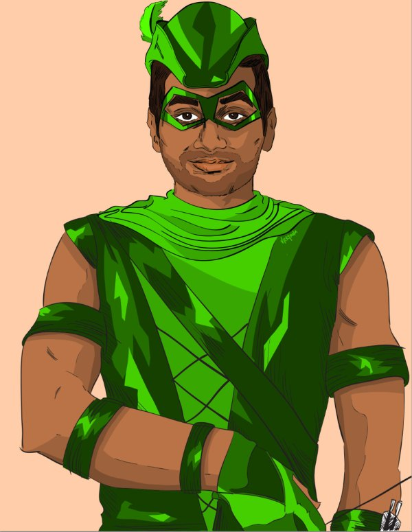 Tom Haverford as the Green Arrow - Parks and Recreation, Aziz Ansari, Justice League