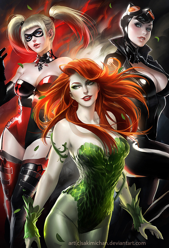 Gotham City Sirens Art - Poison Ivy, Harley Quinn, and Catwoman