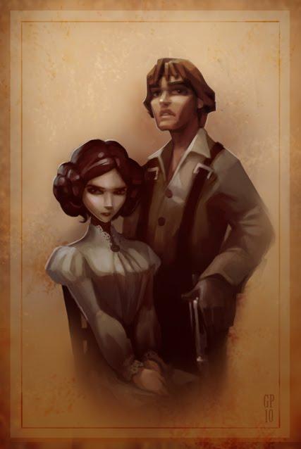 Civil War Skywalker Famiy Portrait by Greg Peltz - Luke and Leia
