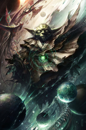 One with the Light by Raymond Swanland - Yoda - Star Wars Art