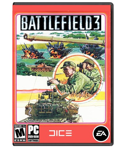 retro battlefield 3 box art - vintage 1980s style video game covers for modern games