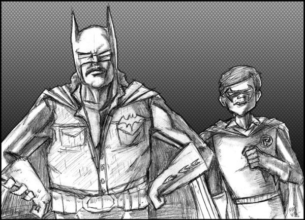 Zap Rowsdower and Troy McGreggor as Batman and Robin by Matt Wall - MST3K Art