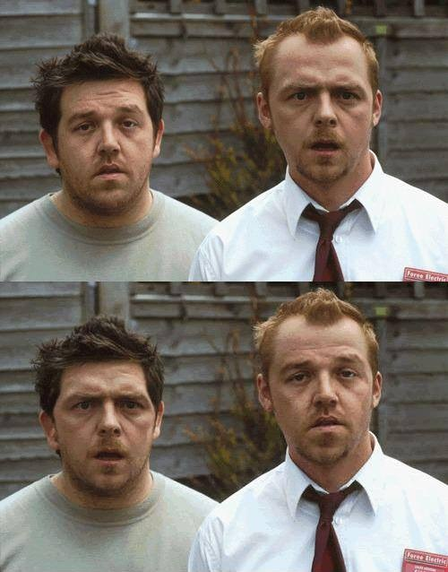 shaun of the dead face swap - simon pegg and nick frost