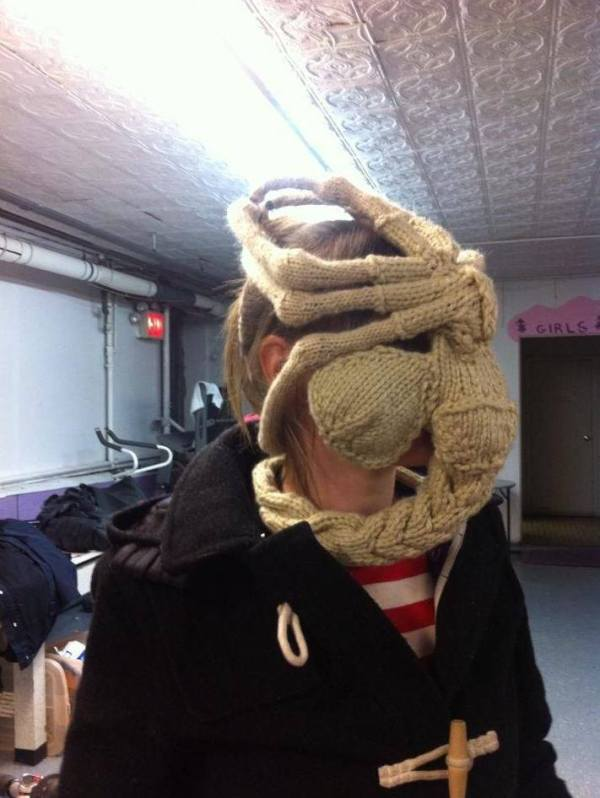 Knitted Facehugger by Katie Freeman