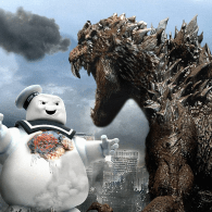 Godzilla vs  Mr. Stay Puft Wallpaper