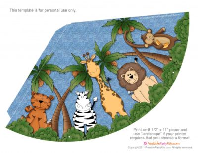 Safari \/ Jungle Themed First Birthday Party u2013 Cheap Party Supplies - Party Hat Template