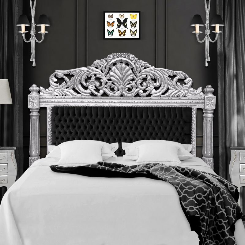 Baroque bed headboard black velvet fabric and silvered wood