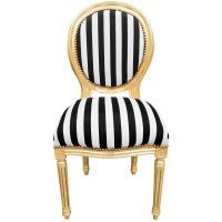 Louis XVI style chair with black and white stripes and ...