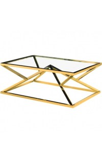 "Coffee table ""Calypso"" in stainless steel gold finish and ..."