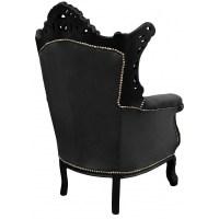 Grand Rococo Baroque armchair black velvet and glossy black