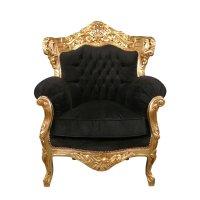 Black armchair baroque velvet and gilded - Baroque Furniture