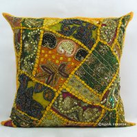 Yellow Indian Beaded Embroidered Patchwork Accent Throw ...