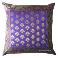 Blue Decorative India Silk Brocade Floral Throw Pillow ...