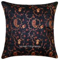 Black Hand Embroidered Floral Silk Throw Pillow ...