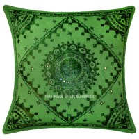 Green Mirror Embroidered Cotton Sofa Indian Throw Pillow ...
